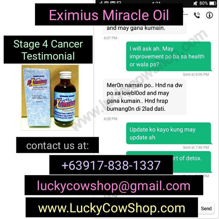 eximius miracle oil cancer testimonial low blood