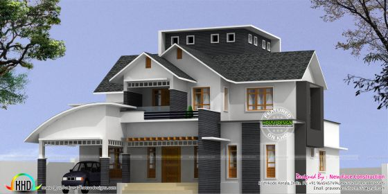 Sloping roof 2968 sq-ft 4 bedroom home