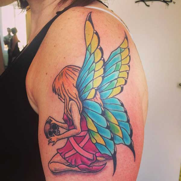 angel fairy arm tattoo