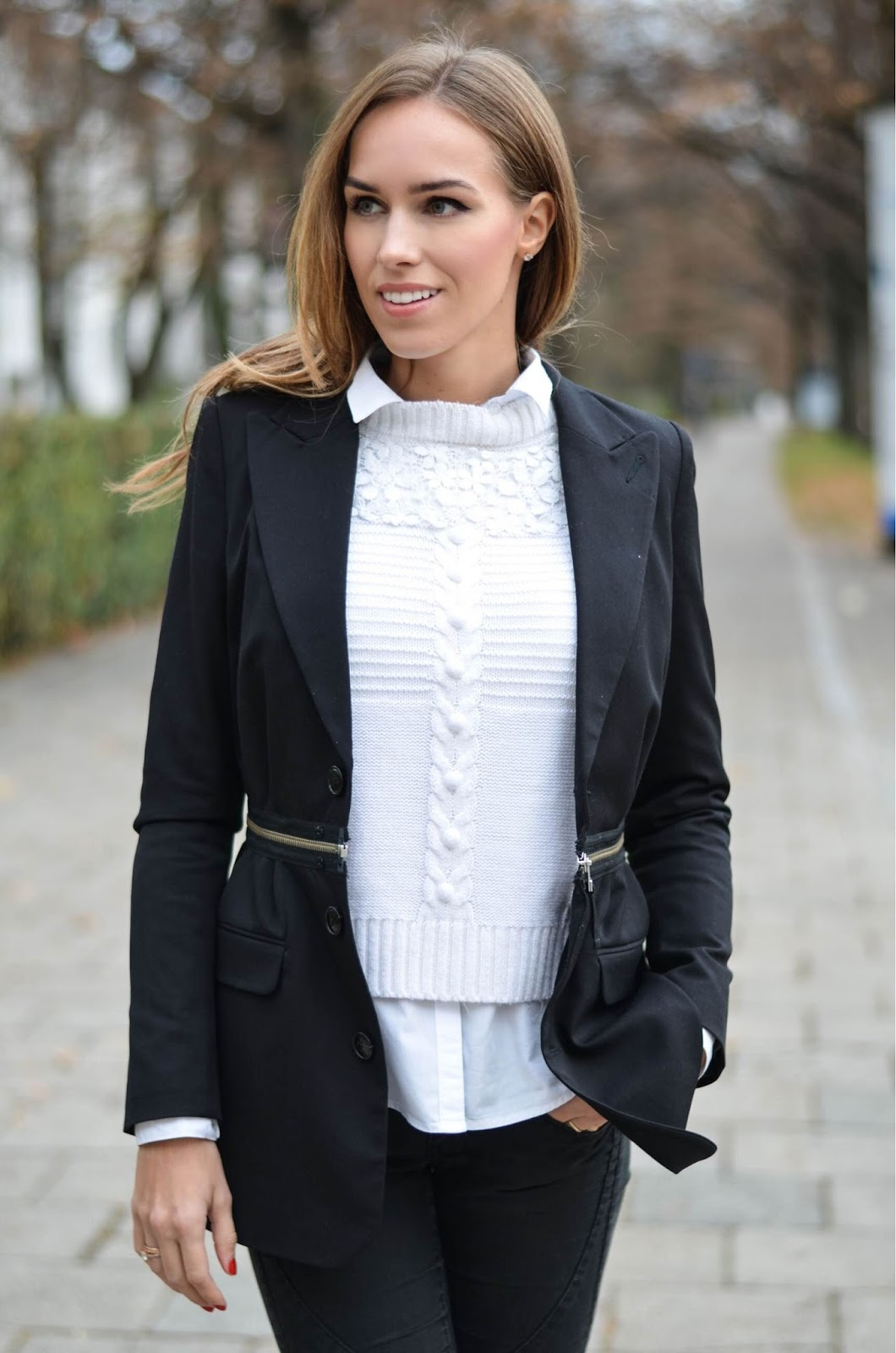 kristjaana mere black blazer white sweater casual fall outfit