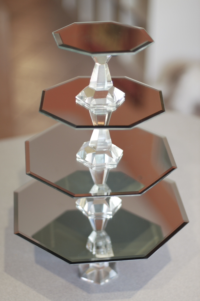 Mirrored Glass Cake Stand