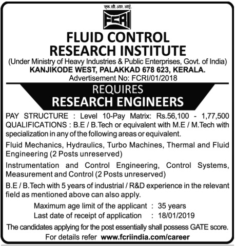 Fluid Control Research Institute (FCRI) - Research Engineers Vacancy 2018