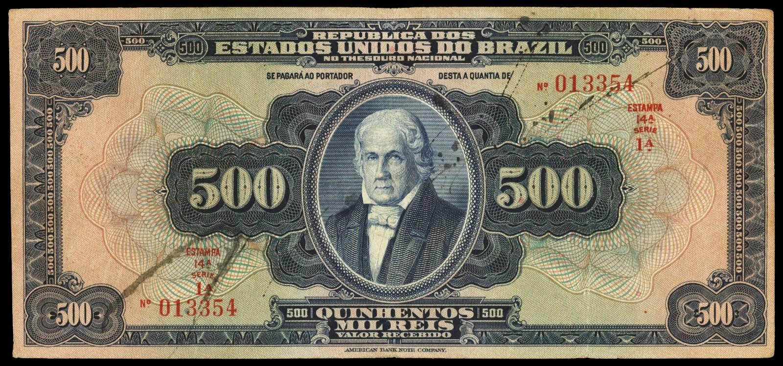 Brazil Banknotes 500 Mil Reis bank note 1925 Jose Bonifacio de Andrada e Silva