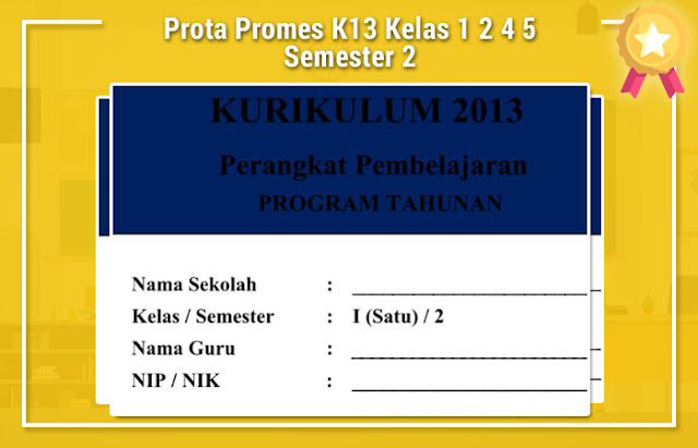 Prota Promes K13 Kelas 1 2 4 5 Semester 2