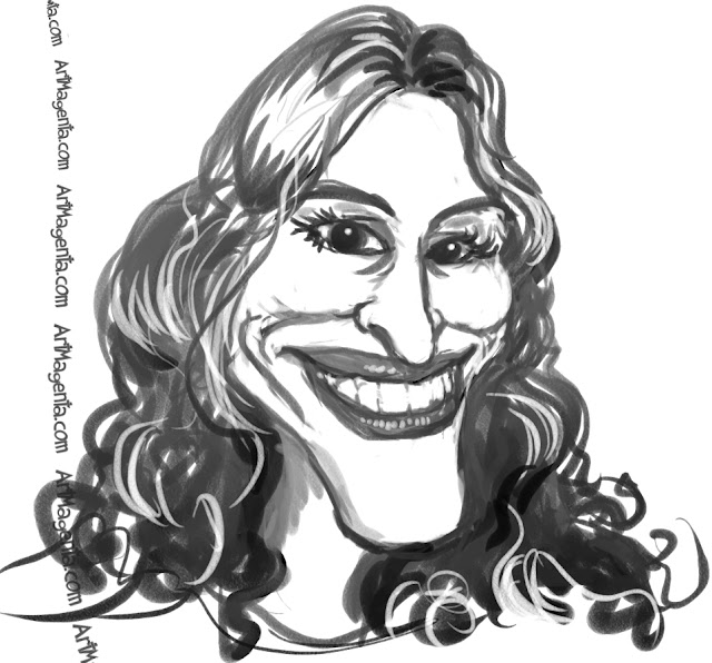 Julia Roberts caricature cartoon. Portrait drawing by caricaturist Artmagenta.