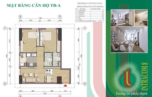 Căn hộ A 68m2 tại chung cư Intracom Vĩnh Ngọc.