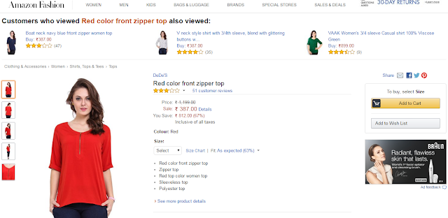 Red color front zipper top at amazon at just 387 !!