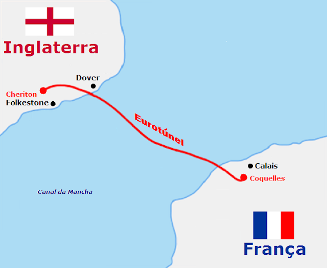 Mapa Eurotúnel