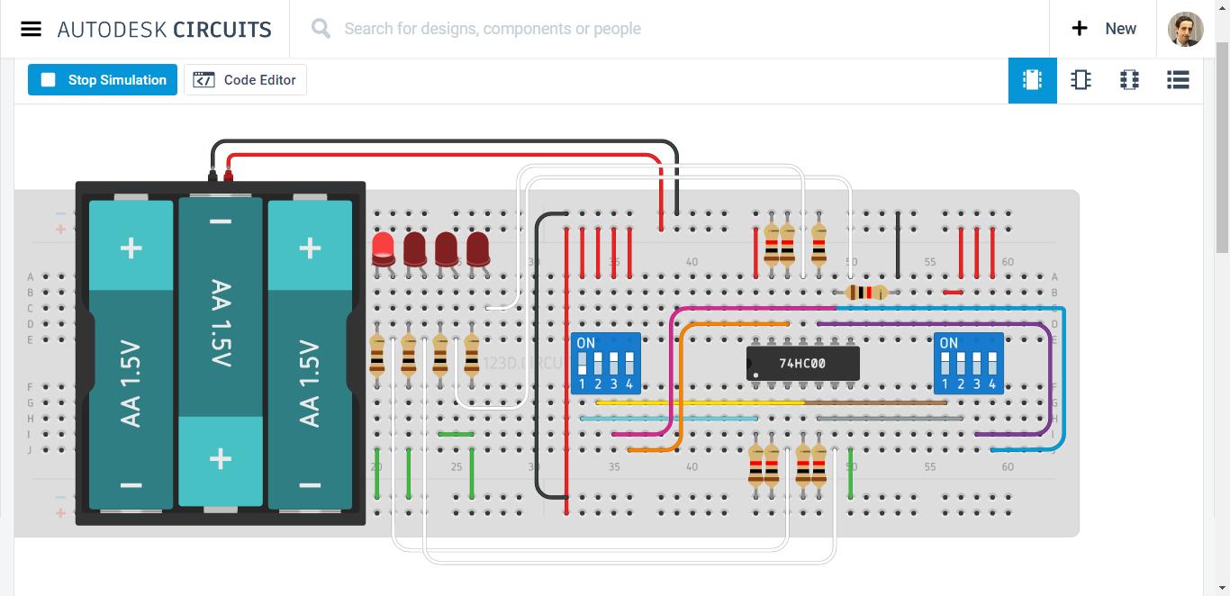 Nand Circuit Simulation With 2 Dip Switch Mb Raw Circuitsimulatorcircuits