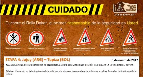 Recorrido y zona de espectadores Dakar 2017 por Tupiza