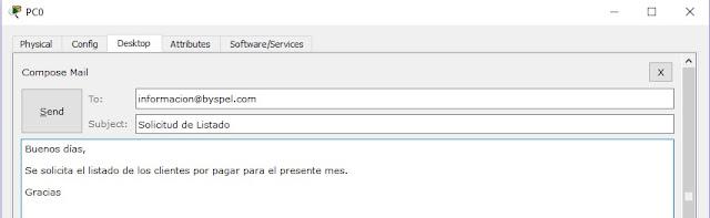 Enviar correo electrónico en packet tracer