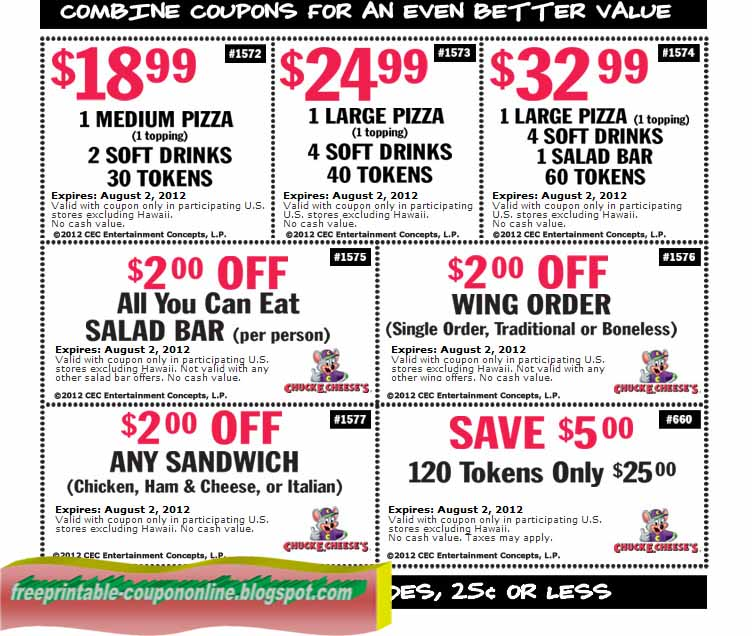 Chuck e cheese coupon april 2018