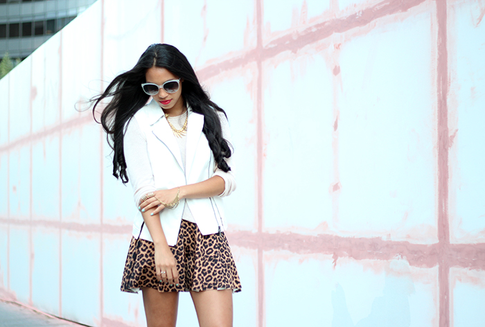 wearing Mural moto vest and leopard skater skirt