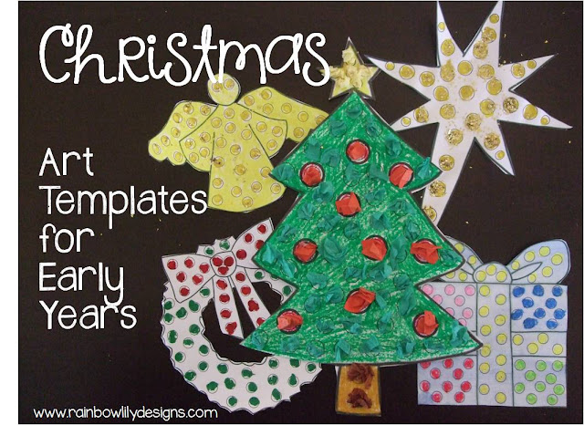 Christmas art templates for little learners www.rainbowlilydesigns.com