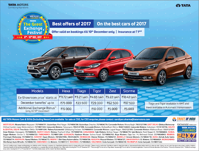 Best offers on Tata best cars | December 2017 offers