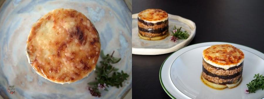 Musaka, plato tradicional de la cocina griega, es un pastel de berenjenas y carne picada, cubierto con bechamel y gratinado con queso