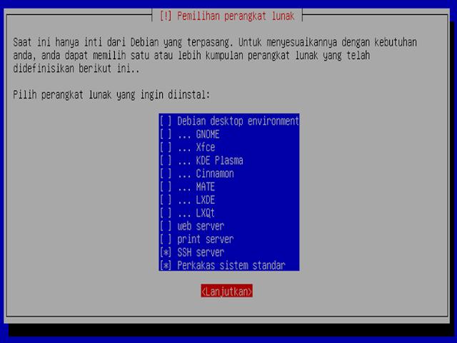 Instalasi Debian - Memilih perangkat lunak yang akan diinstall