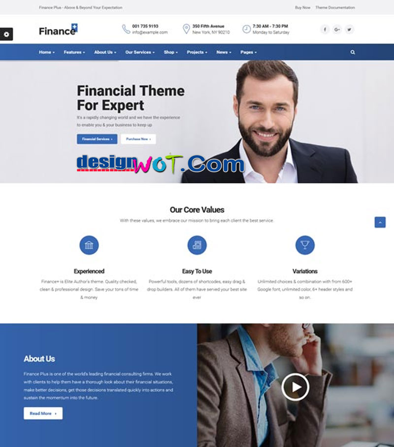 financeplus finance business wordpress theme