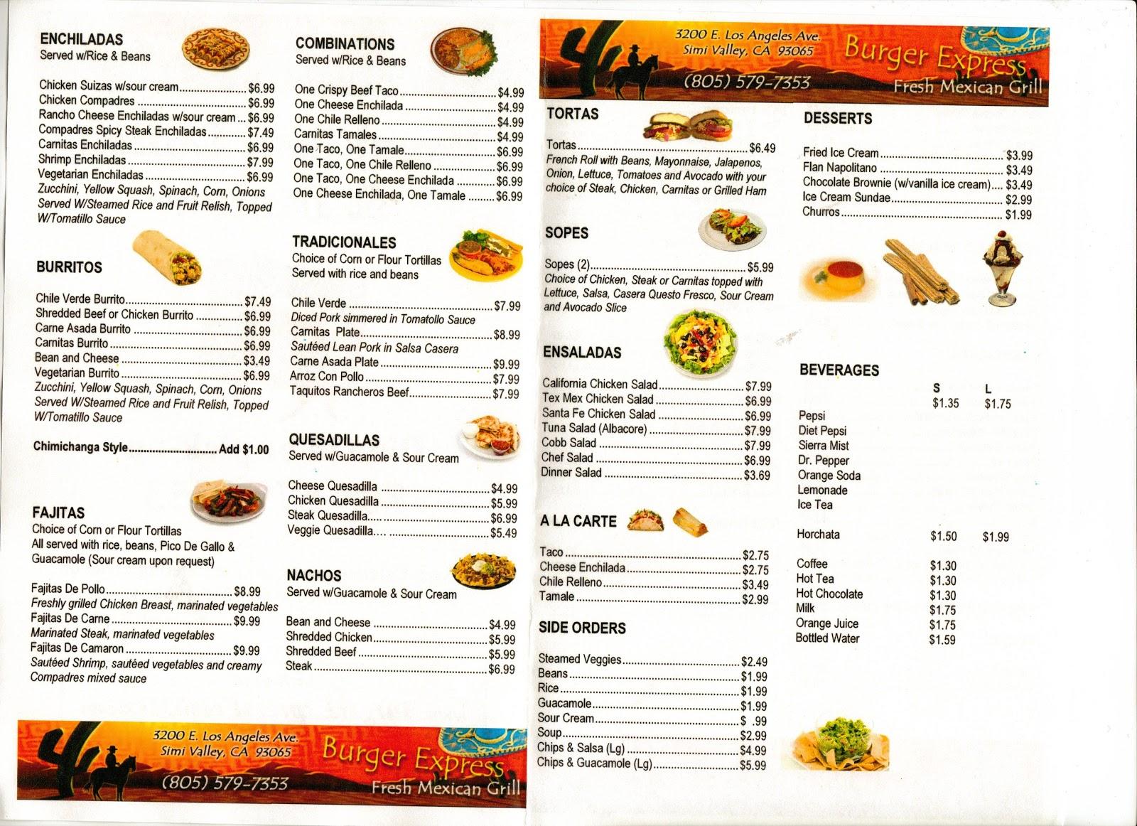 VC Menu: Burger Express Fresh Mexican - Simi Valley