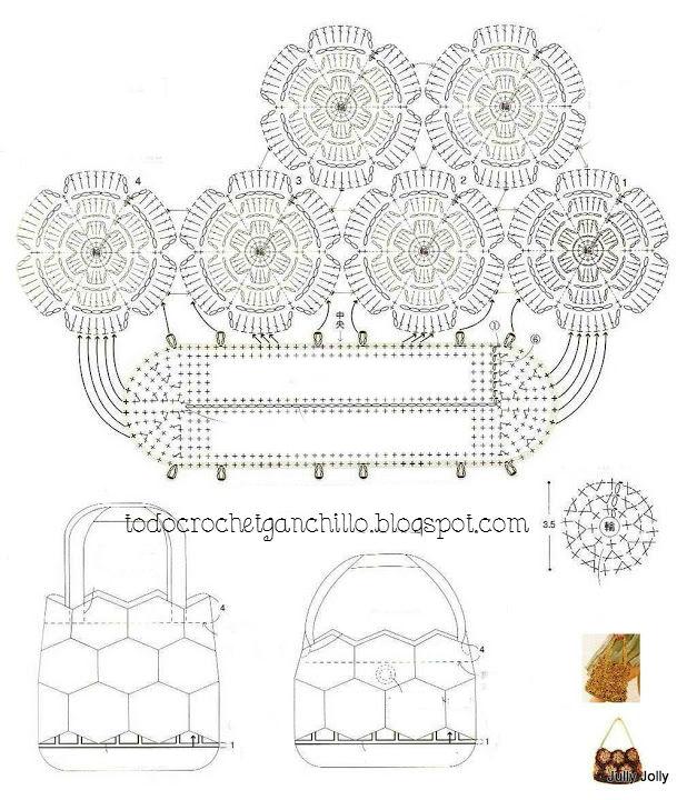 Moldes y patrones de cartera tejida al crochet