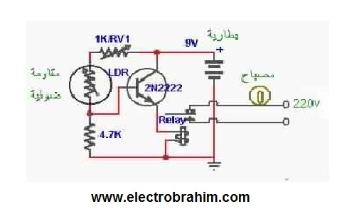 دائرة الكترونية بسيطة للتحكم بالإضاءة عند حلول الظلام