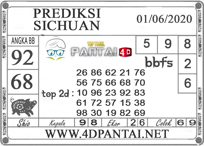 PREDIKSI TOGEL SICHUAN PANTAI4D 01 JUNI 2020