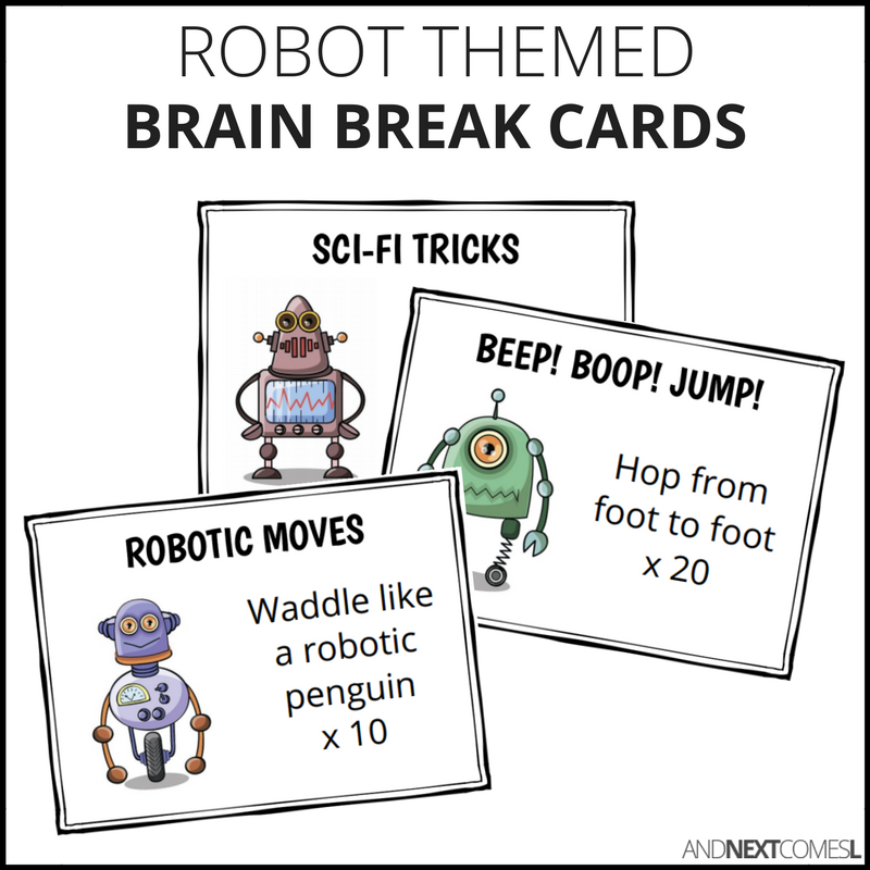 Robot themed brain break cards for kids from And Next Comes L