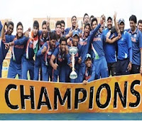 India Celebrate their win in Under-19 World Cup