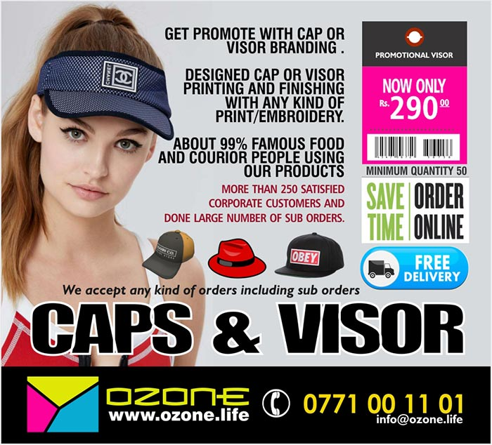 DESIGNED CAP OR VISOR PRINTING AND FINISHING WITH ANY KIND OF PRINT/EMBROIDERY.  ABOUT 99% FAMOUS FOOD AND COURIER PEOPLE USING OUR PRODUCTS,  Ozone Life online corporate gift shop.