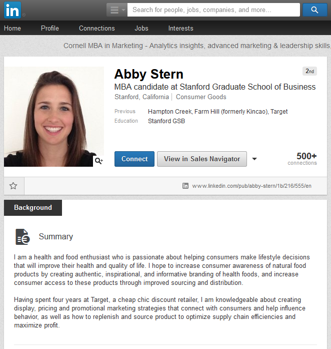LinkedIn Summary Examples MBA students Stanford