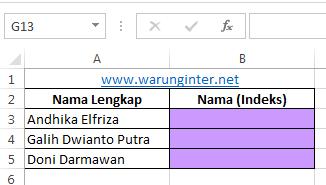 Tabel untuk Merapikan Nama Berdasarkan Indexs pada Microsoft Excel