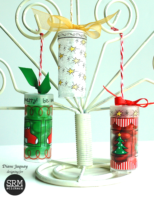 SRM Stickers Blog - Tiny Tube Ornaments by Diane - #tube #altered #christmas #fancy #stickers #twine #ornaments