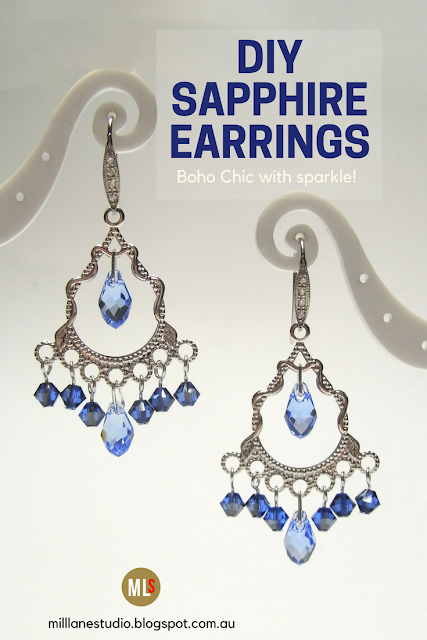 Pin for DIY Bohemian Sapphire Chandelier Earrings. Silver filigree chandelier fitting with a row of dangling Swarovski crystals in shades of blue below a focal tear drop crystal