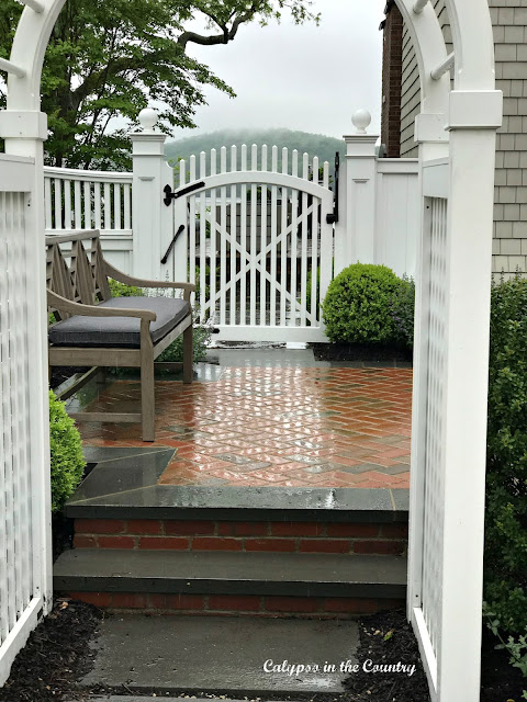 Outdoor archway to patio