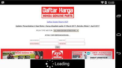 Aplikasi untuk cek harga onderdil motor