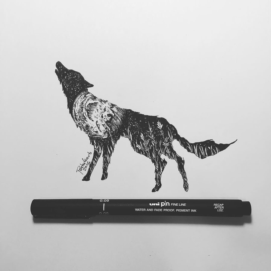 11-Wolf-Howling-Joseph-Catimbang-Ink-Drawings-in-Various-Styles-www-designstack-co
