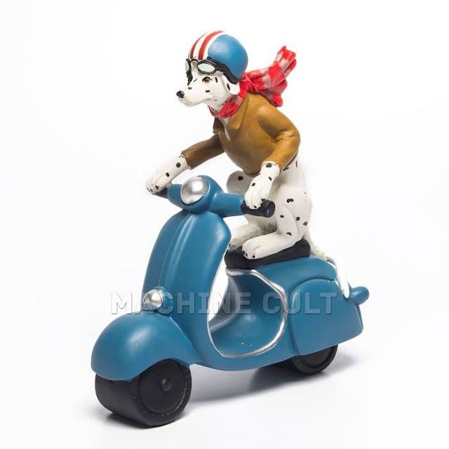 Miniatura cachorro motociclista para decoração