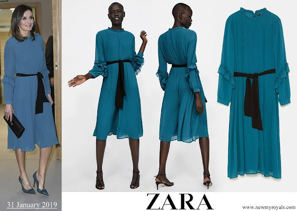 Queen Letizia wore ZARA pleated jumpsuit dress with belt from 2019 SS collection