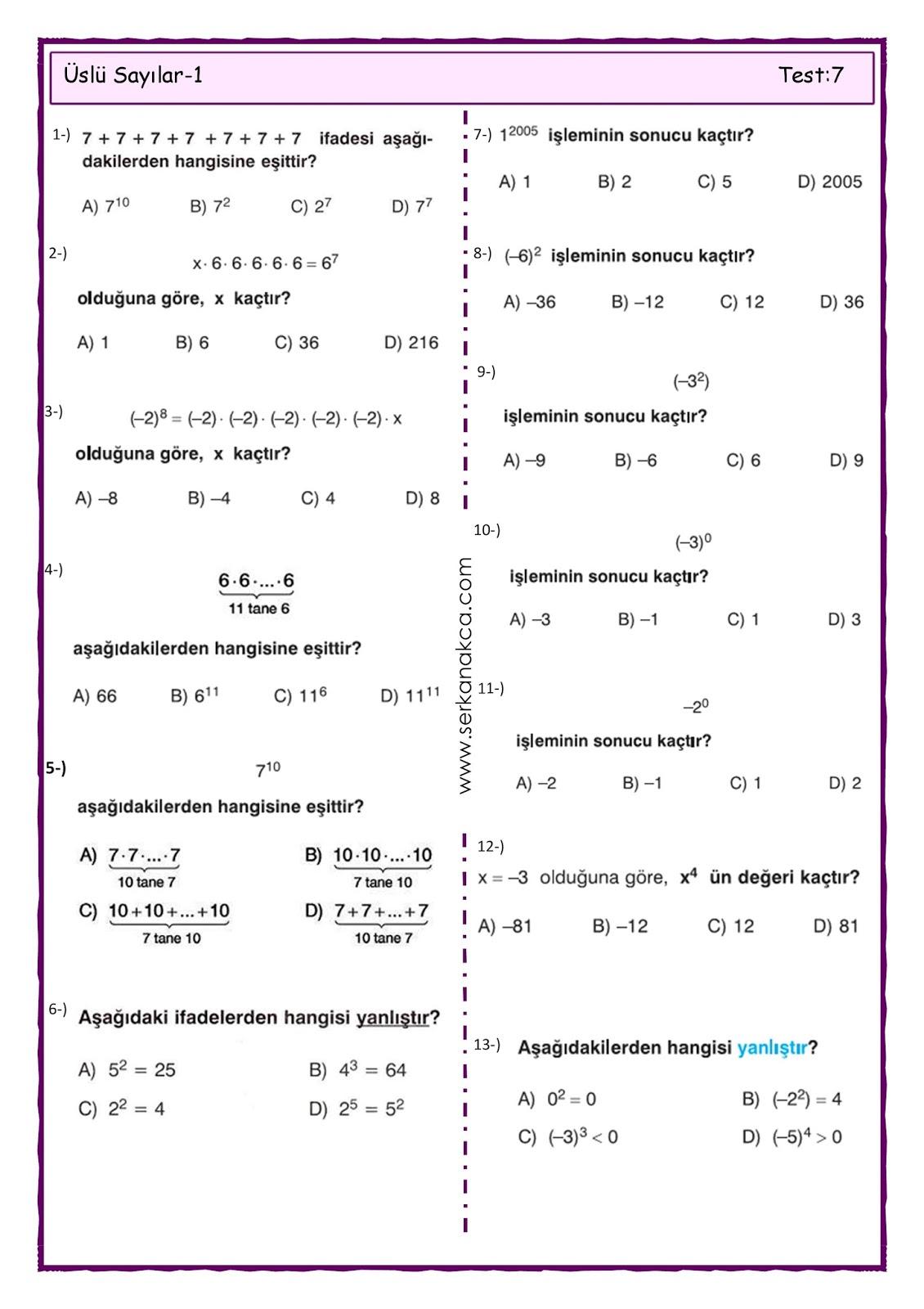 7 Sinif Uslu Sayilar 1 Serkan Akca Matematik