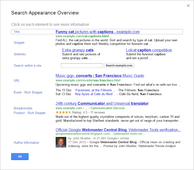 Webmaster Tools Search Appearance Overview