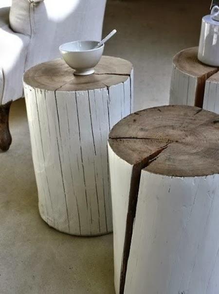 natural modern interiors: Log Side Tables