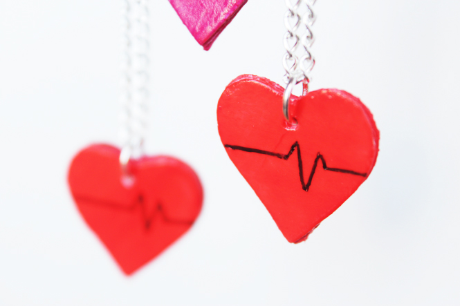 Curly Made | How to make these simple Valentine's Day Heart Charms out of cardboard #crafts #diy #necklace #charms #recycle #upcycle
