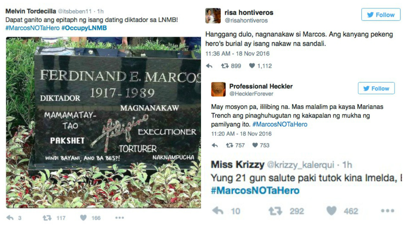 Anti-Marcos rants flood Twitter on his day of burial at the Libingan ng mga Bayani