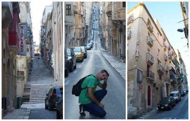 calles empinadas de la valeta Malta
