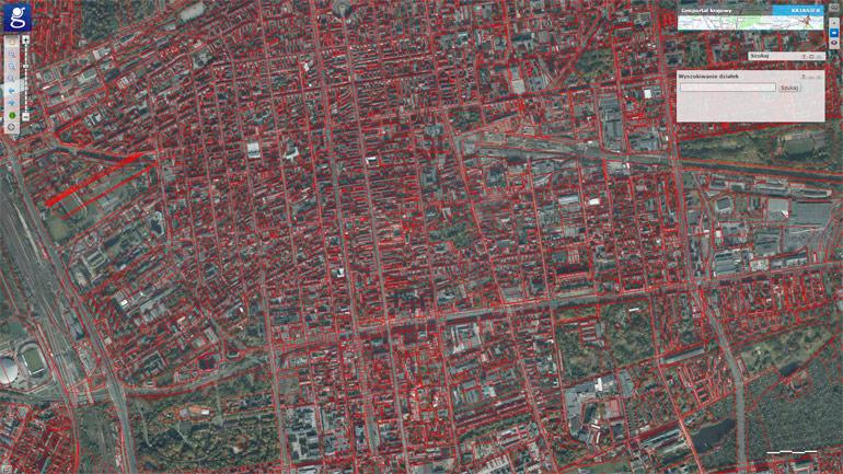 Szukanie działek - mapa geodezyjna
