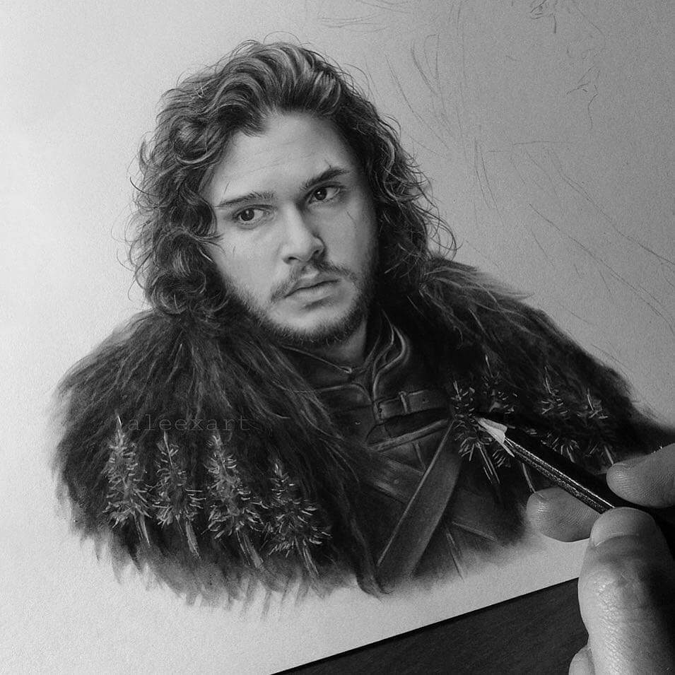 02-Jon-Snow-Kit-Harington-GoT-Alex-Manole-Celebrities-Drawn-in-Realistic-Portraits-www-designstack-co