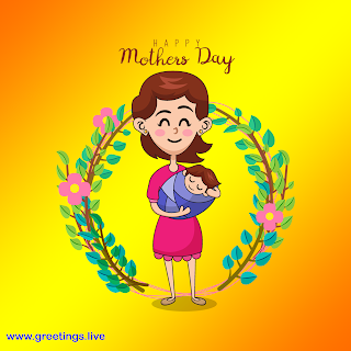 cartoon mother holding baby, flowers designs happy mothers day greetings