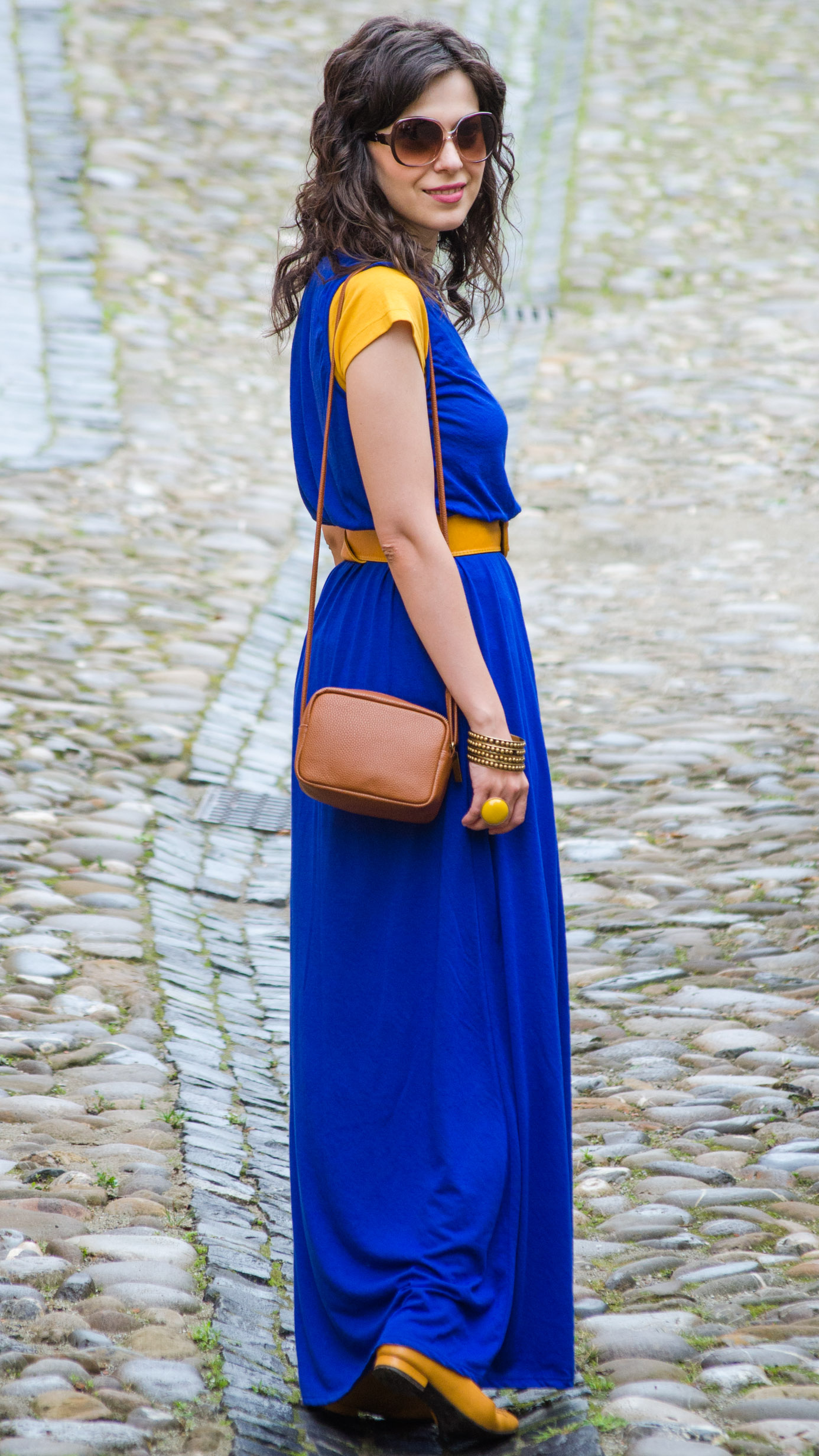 Miss Green Maxi Blue Dress Amp Hints Of Mustard