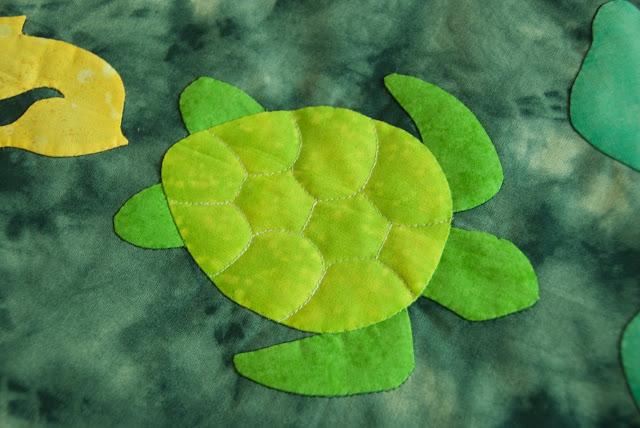 Turtles applique and trapunto