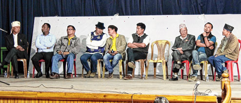 The chairmen of the 7 hill development boards at the meeting.Picture by Suman Tamang